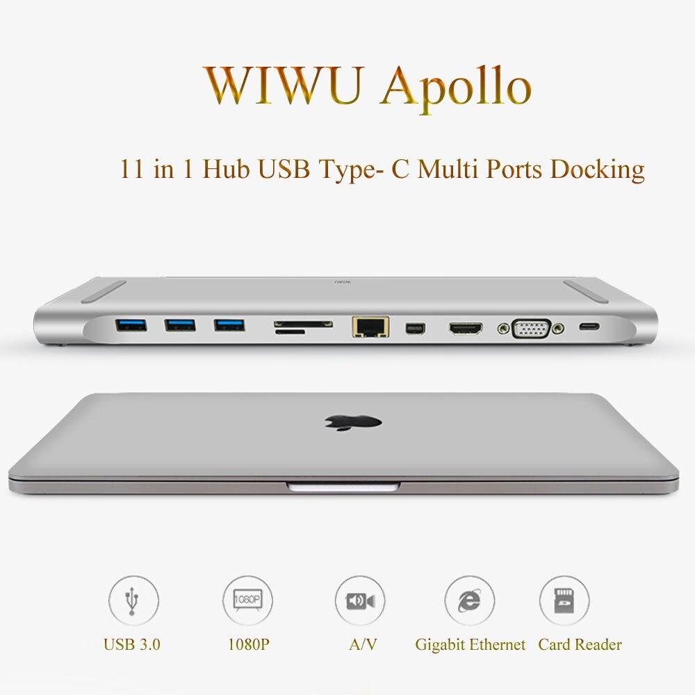Estación de acoplamiento WIWU multifunción 11 en 1 Hub USB tipo C para MacBook de aluminio USB 3,0 a HDMI/VGA Universal para Dell