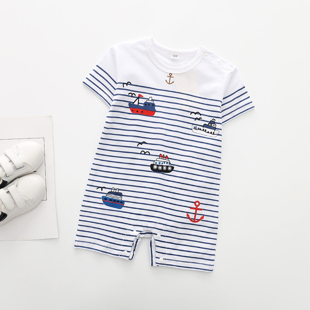 Striped Casual Clothes Themed Short Sleeve Summer Baby Romper 3
