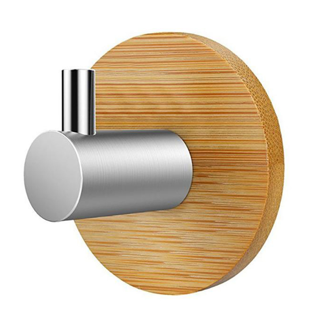 Adhesive Natural Bamboo Stainless Steel Hook Wall Clothes Bag Headphone Key Hanger Kitchen Bathroom Door Towel Rustproof Shelf