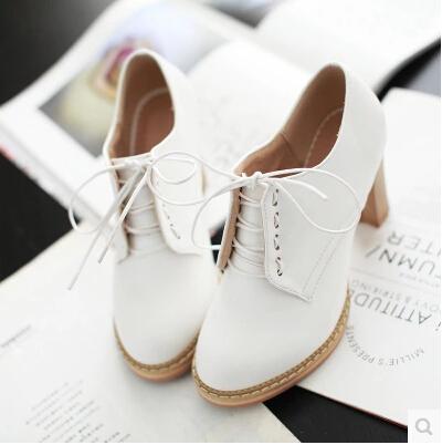 Nova primavera e verão mulheres sapatos casuais doces sapatos único calcanhar grosso bombas de sapatos tamanho 34-39 5c321