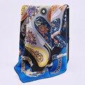 Temperamento Impressão 100% Sarja De Seda do Xaile do Lenço Wraps Lenços De Seda Quadrados das Mulheres Moda Vestuário Acessório 90x90 cm