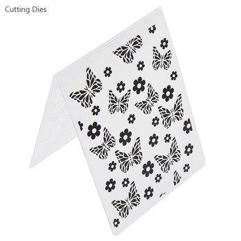 Diseño de Flor Mariposa de repujado de plástico de carpeta para Scrapbook papel para manualidades herramienta plantilla de plástico sello de suministros