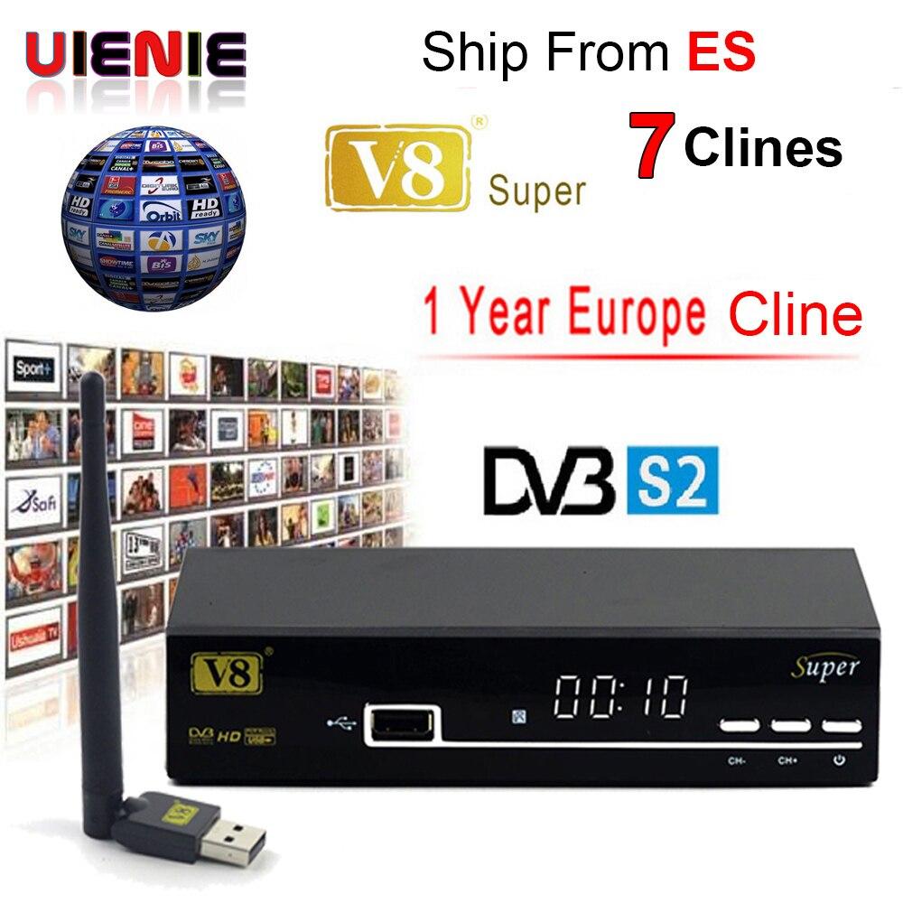FREESAT V8 SUPER Récepteur DVB-S2 HD FTA Satellite TV Récepteur Avec 1 Année 7 CLINES CCcam + USB WIFI 1080 p lnb Portugal Polonais TV