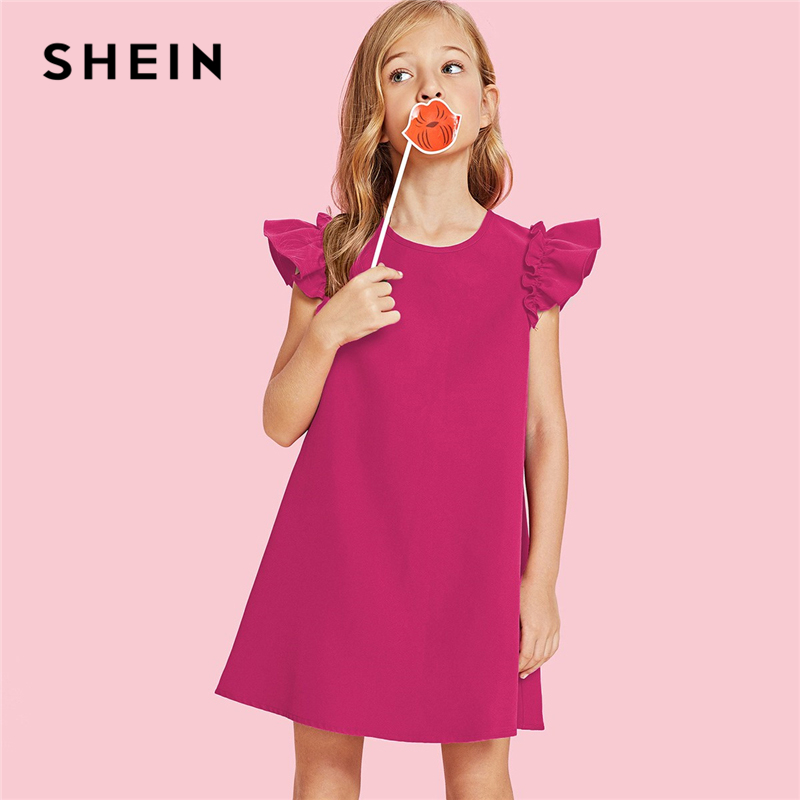 SHEIN Hot Pink Solid Ruffle Armhole Trapeze Party Girls Dress 2019 Spring Korean Fashion Elegant Kids Dresses For Girls Clothing girls zip back appliques armhole dress