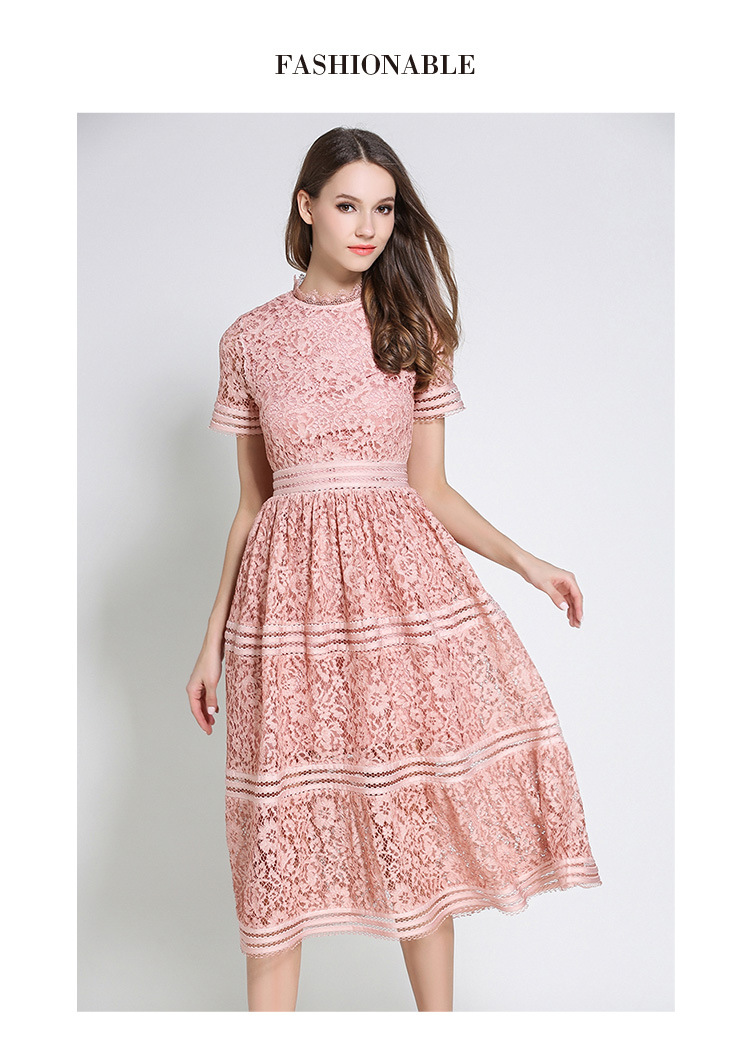 2 Color Hollow Out Lace Beauty Elegant Dress