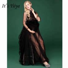dc26f5c47d1a05f Это yiiya черная сетка для беременных летнее платье для беременных съемки  фото лоскутное кружева платья для