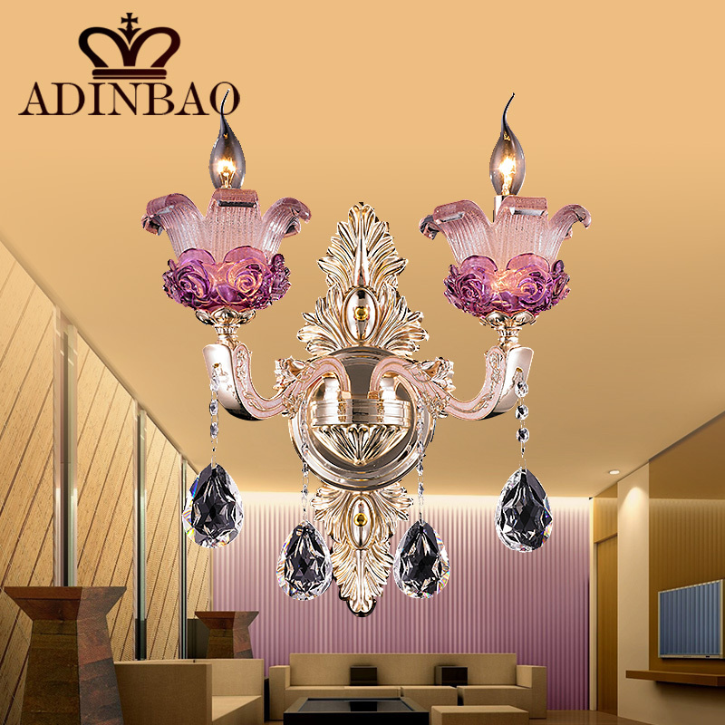 fancy pink purple murano glass wall lamp with k9 crystal pendent living room wall sconce lighting 8531 2 in wall lamps from lights lighting on - Living Room Fancy Lights