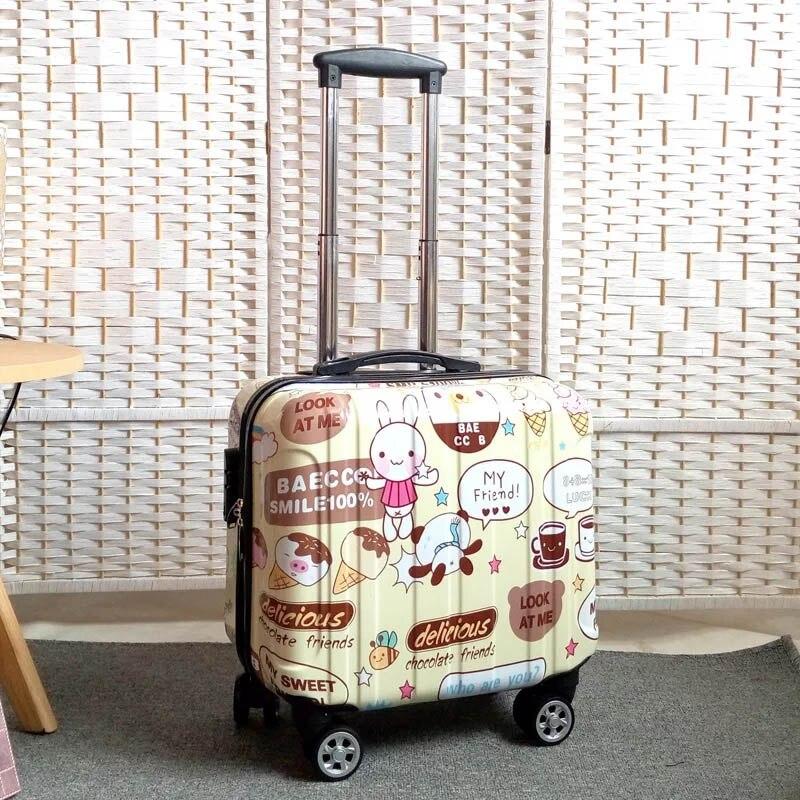 18 cal podróży wózek walizka dla kobiet i mężczyzn wózek torby podróżne koła Spinner Student toczenia bagaż na pokład bagażu podróży w Walizki od Bagaże i torby na  Grupa 3