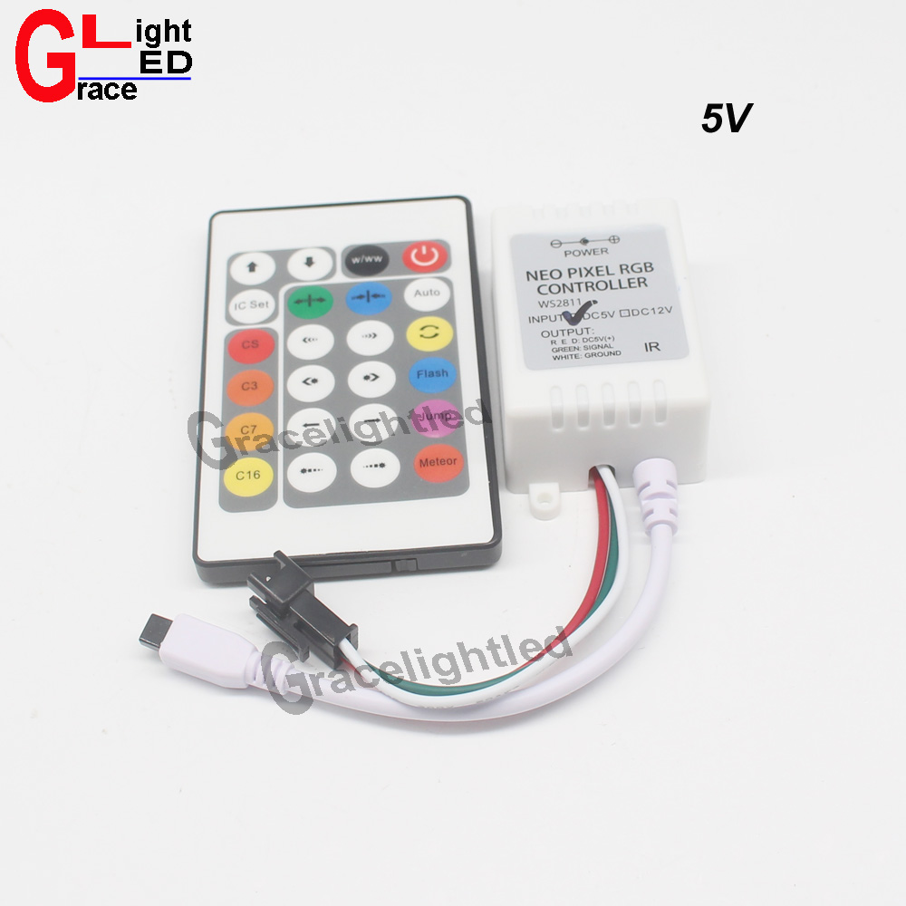 US $4 69 6% OFF 1pcs 5V 12V 24 Key IR Remote Controller For WS2811 SK6812  WS2812B LED Strip Light-in RGB Controlers from Lights & Lighting on
