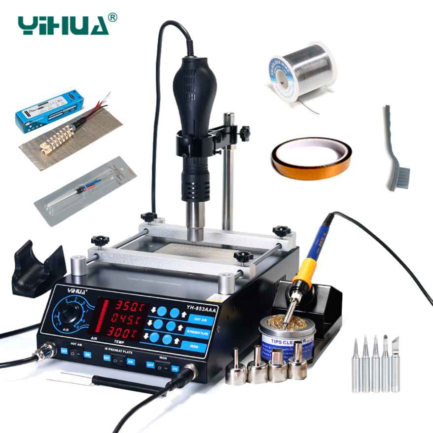 YIHUA 853AAA Bga Rework Station SMD Hot Air Gun Soldering Irons Preheating Station Functions 3 in