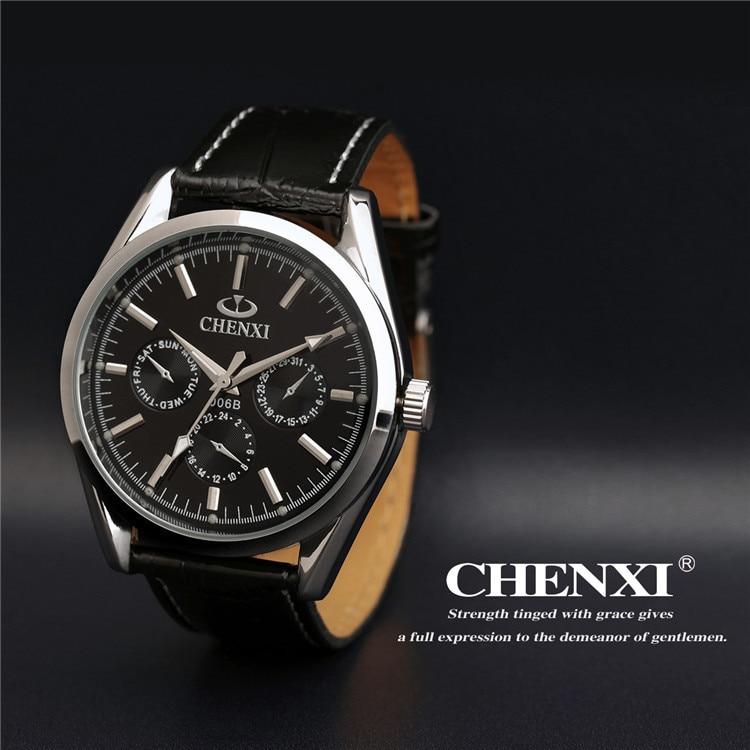 1 pc lot 3 Yeux CHENXI Hommes Robe Quartz Montre-Bracelet De Luxe de Marque  Bracelet En Cuir Montres Relogio Mâle Reloj Horloge 006B d750063c4b23