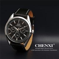 1pc Lot 3 Eyes CHENXI Men S Dress Quartz Wrist Watch Luxury Brand Leather Strap Watches