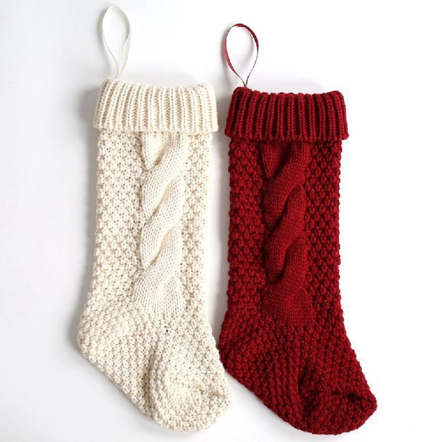 Online Shop 2017 New Christmas Santa Claus Solid Knitting Socks ...