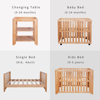 2018 Housbay 4 IN 1 GROW UP BABY BED Multifunction Wooden Baby Crib, Baby Furniture, Baby Changing Table, Kids Bed with Wheels