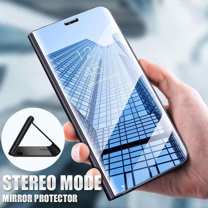 Зеркальный умный чехол для Asus Zenfone 6 ZS630KL из искусственной кожи с подставкой