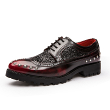 Brand Men Brogue Shoes Platform Men Oxfords Steampunk Shoes Style Creepers Cut-Outs Flat Casual Luxury Burgundy Metallic