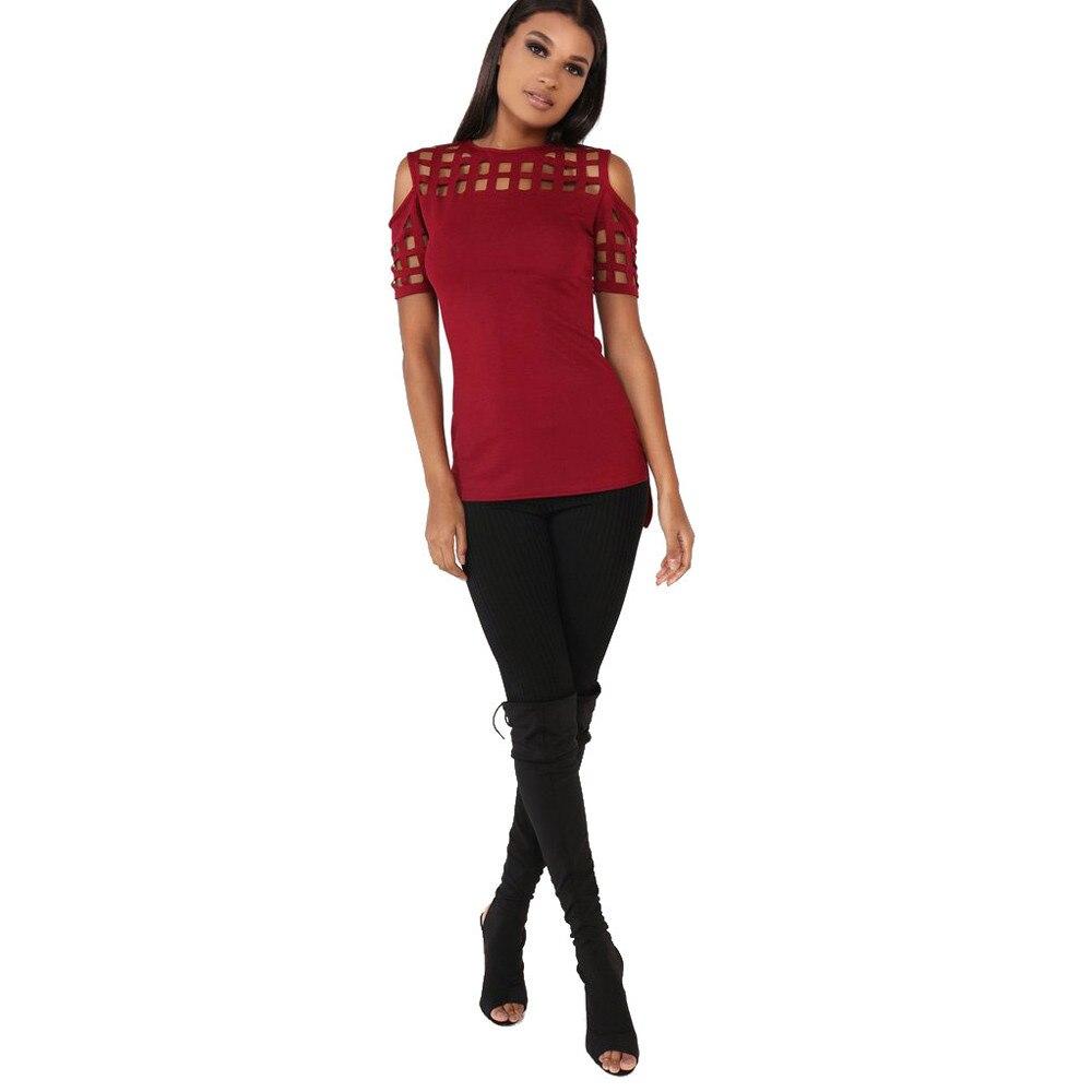 HTB1bs78OFXXXXamXpXXq6xXFXXX8 - T-shirts Women Fashion Off The Shoulder Hollow Out Short Sleeve