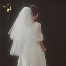 Tulle Gather Short Veils For Bride White Ivory Womens Wedding Fingertip Length Two Layer accesorios para boda JVA016