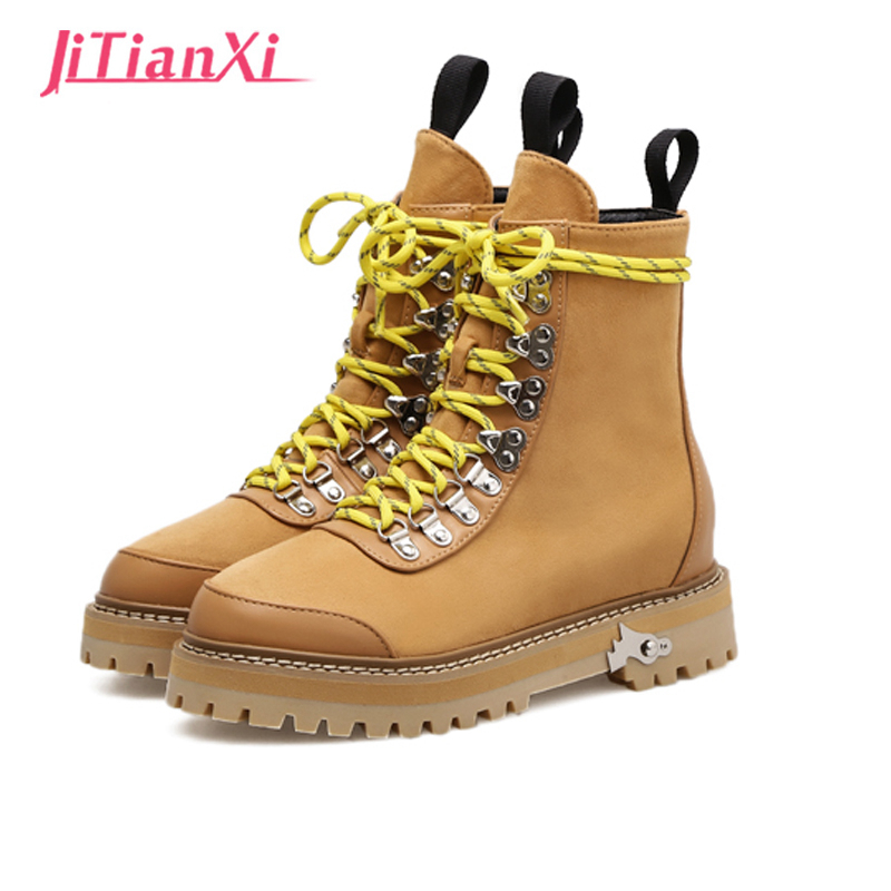 Ankle Boots 2017 Ankle Women yellow Boot Lace up Fashion Women Shoes Winter Round Toe Black Footware plus size 35-40 winter woman boots lace up ladies flat ankle boot casual round toe women snow boots fashion warm plus cotton shoes st903
