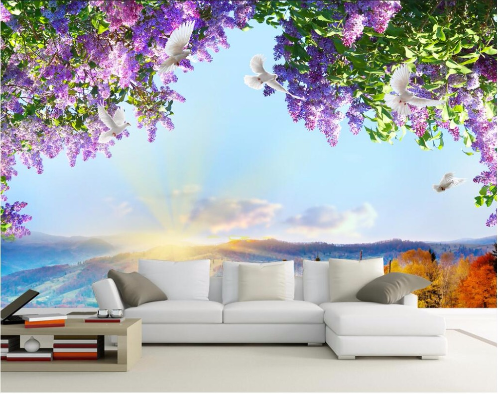 Custom mural 3d photo wallpaper flowers sky dove for Custom mural painting