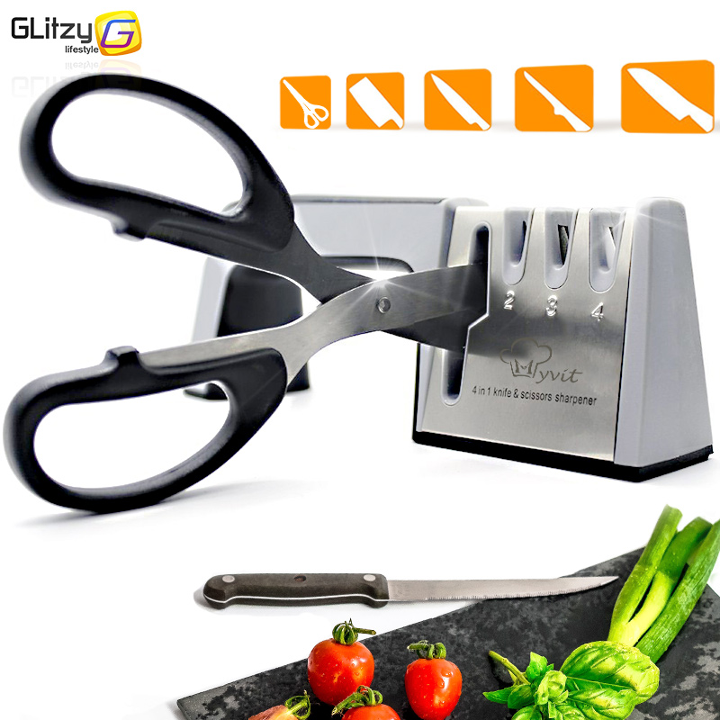 Knife Sharpener 4 Stage Professional Kitchen Sharpening Stone Scissors Grinder Knives Tungsten Diamond Ceramic Whetstone Tool(China)