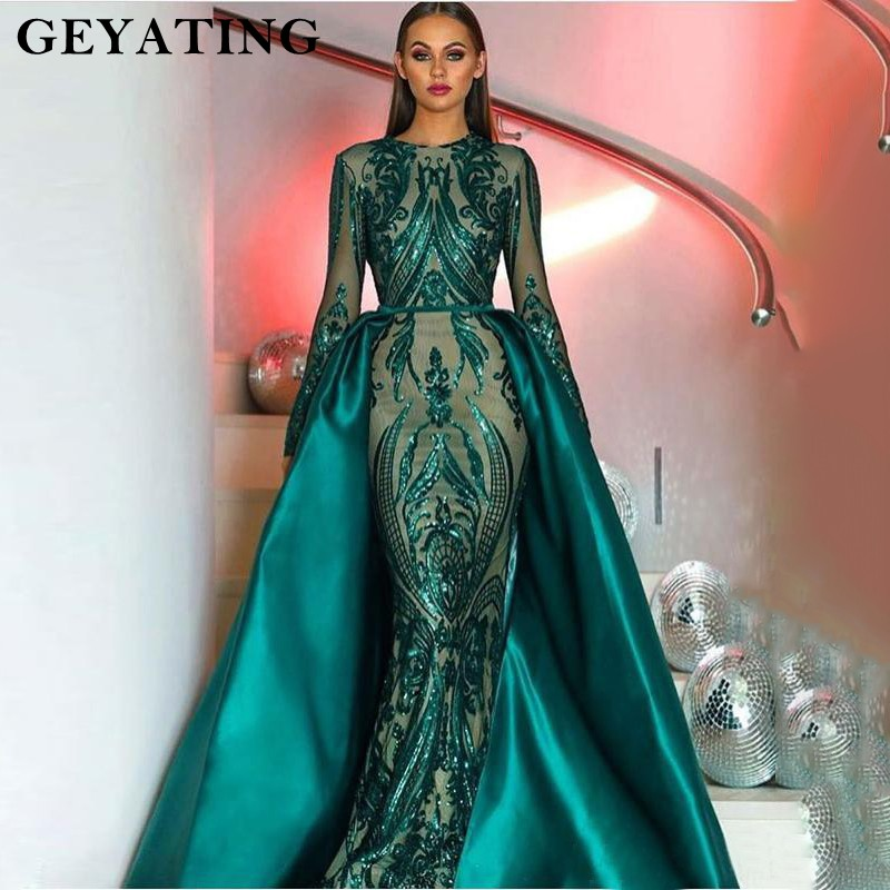 2018 Muslim Long Sleeves Mermaid Evening Dress Detachable Train ...