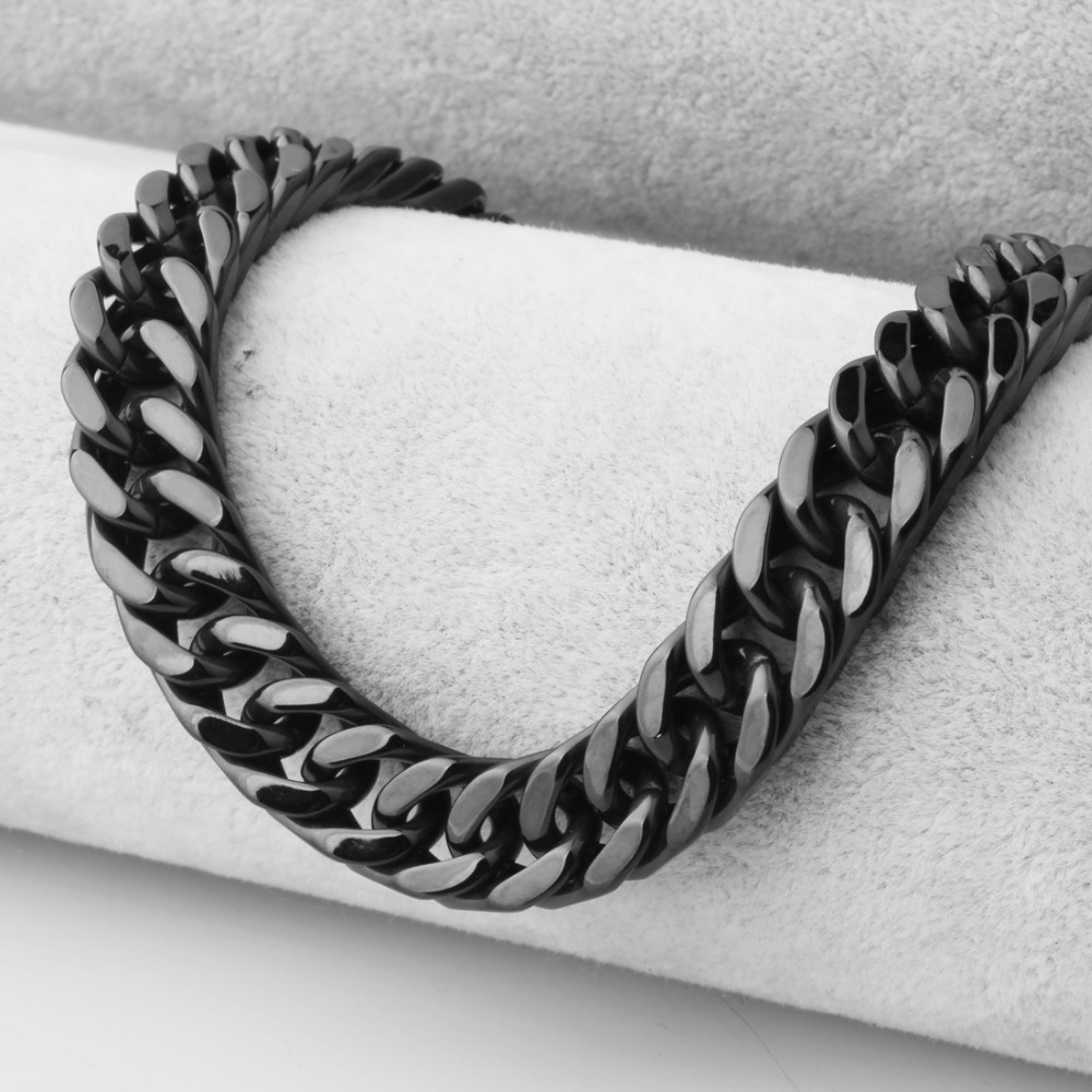 Trendy Stainless Steel 10mm Wide Black Color Necklace Or Bracelet For Men Male Free Choose Length 7-40 Inches Curb Link Chain