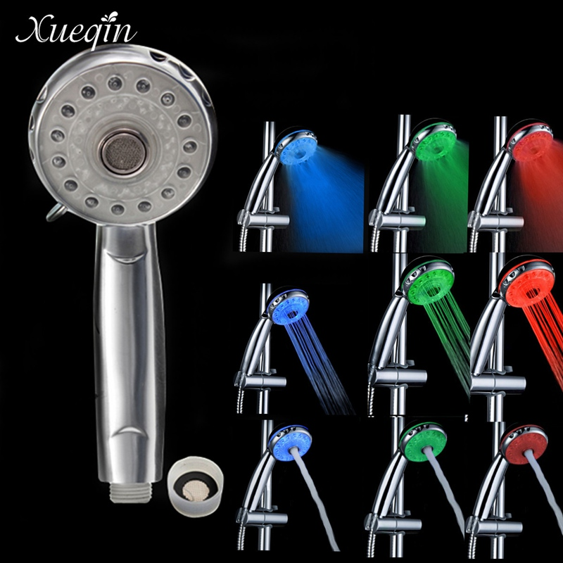 Xueqin 3 Ajustável Modos 3 Cor LED Banheiro Sensor de Temperatura Da Cabeça de Chuveiro de Mão Banho de Chuveiro de Aspersão