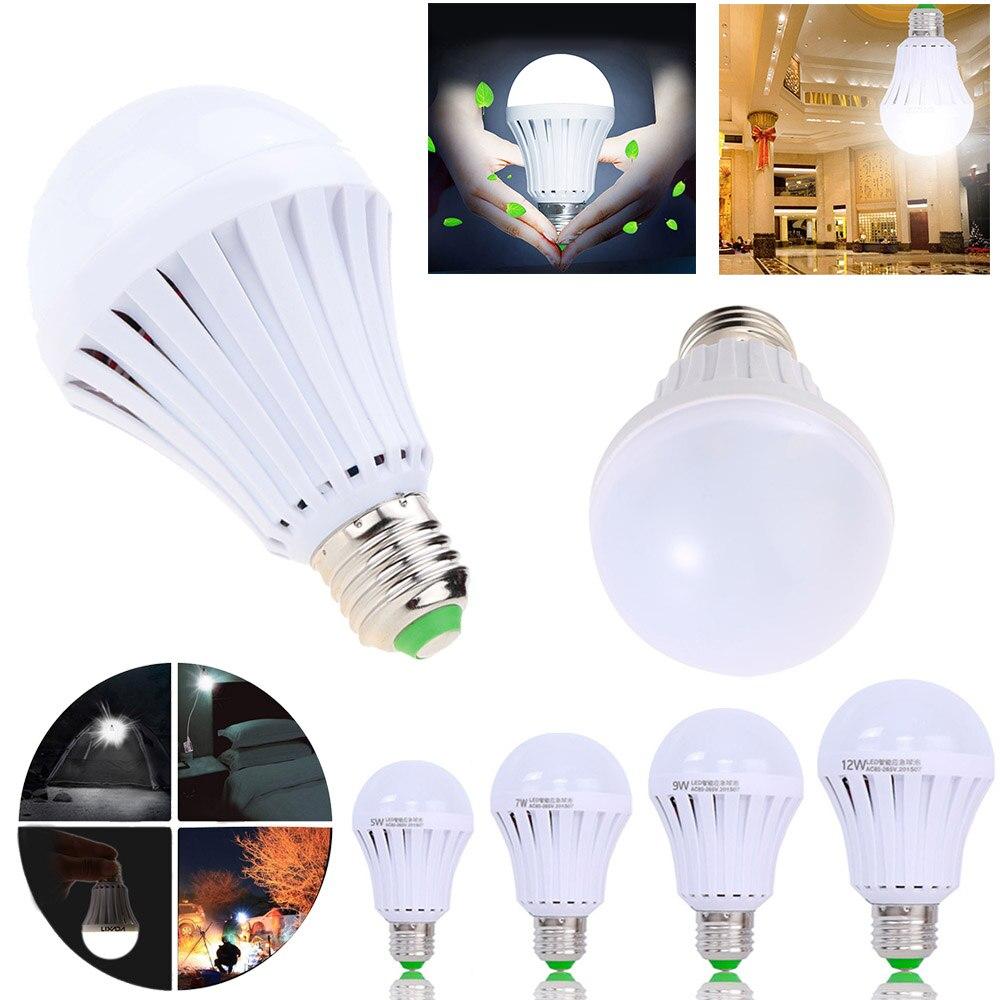 Bombilla LED inteligente E27 5w 7W 9W Led luz de emergencia 85-265v lámpara de iluminación de batería recargable para iluminación al aire libre bombas Reflector LED de carga USB Luz de trabajo reflector recargable 2*18650 o 4 * AA batería al aire libre reflector para Camping emergencia