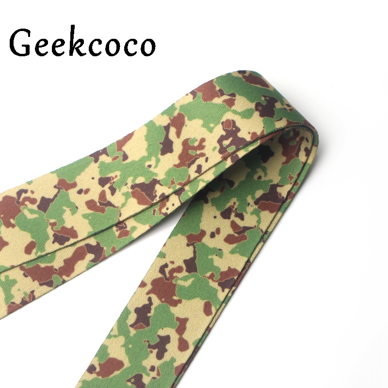 Camouflage Men women ID Pass Card Badge Cartoon Neck Straps Gym Key Mobile Phone USB Holder lanyard webing J0222 in Key Chains from Jewelry Accessories