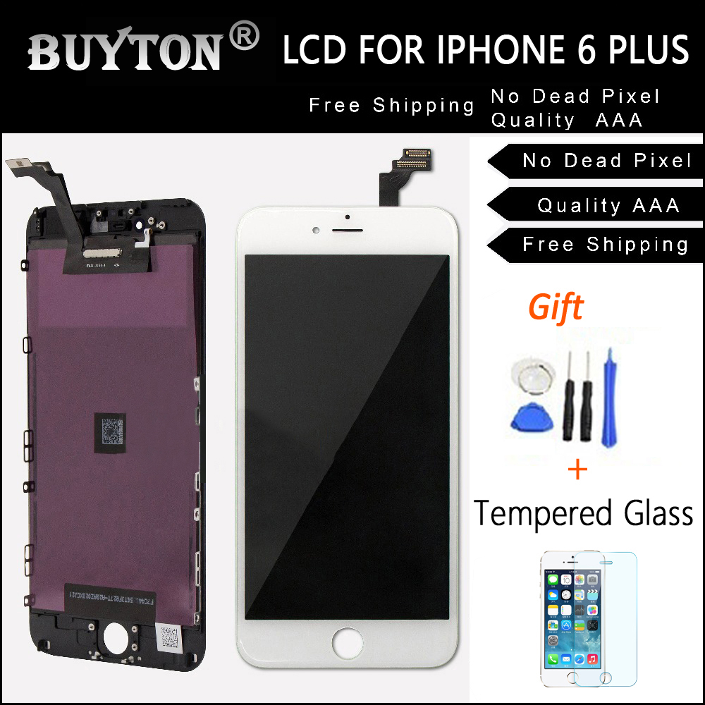 BUYTON AAA+100% Brand New For iPhone 6P LCD Assembly with Touch Screen ,LCD Screen White and Black + Gift