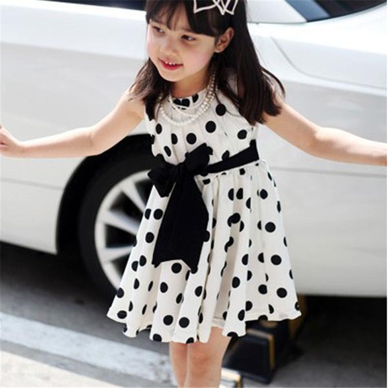 2018 Girl Dress Cute Kids Toddlers Kid Girls Sundress Polka Dots Chiffon Tunic Bowknot Belt Dresses New Arrival
