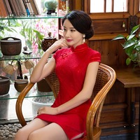 DJGRSTER New Chinese Traditional Dress Silk Satin Cheongsam Print Short Sleeve Qipao Dresses Short Style Dress red and pink