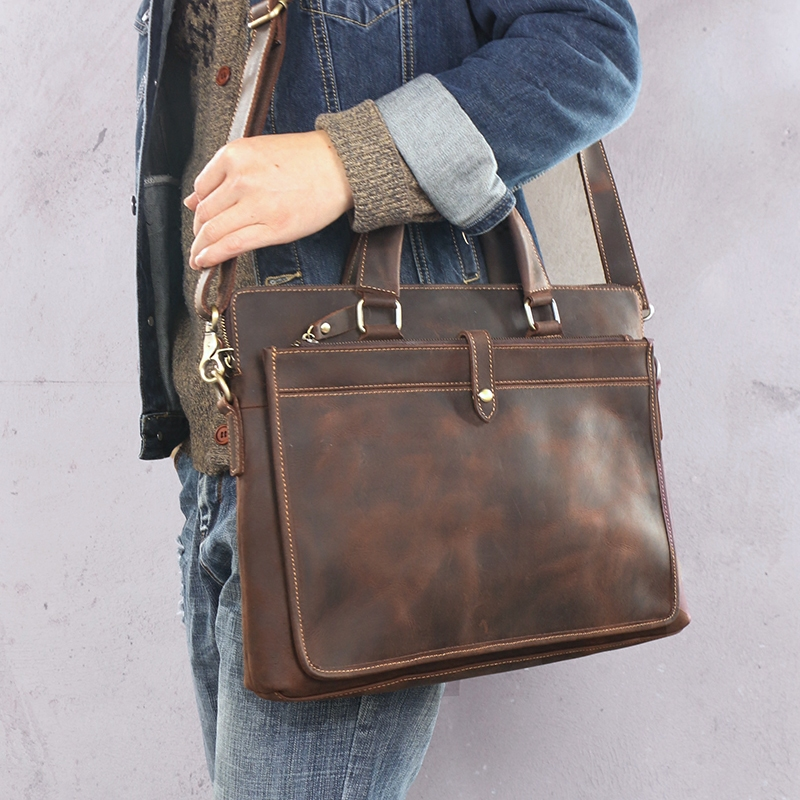 Винтажные модные брендовые дизайнерские кожаные мужские сумки Crazy Horse 14 сумка на плечо для ноутбука из натуральной кожи повседневный мужской портфель - 4