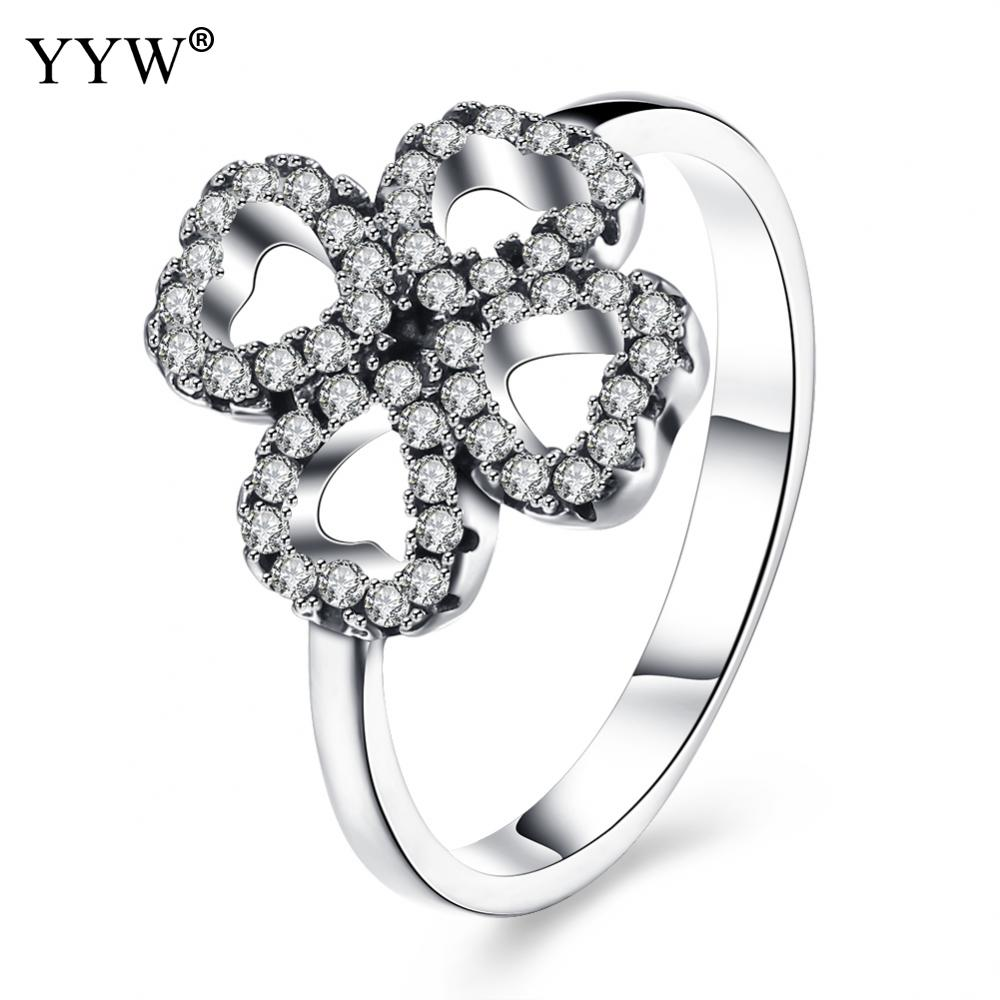 Luxury Antique 100% 925 Sterling Silver Lucky Love Clover Rings Micro CZ Brand Rings for Women Engagement Wedding Jewelry