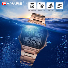 PANARS Business Men Watches Waterproof G Watch Shock Stainless Steel Digital Wristwatch Clock Relogio Masculino Erkek Kol Saati