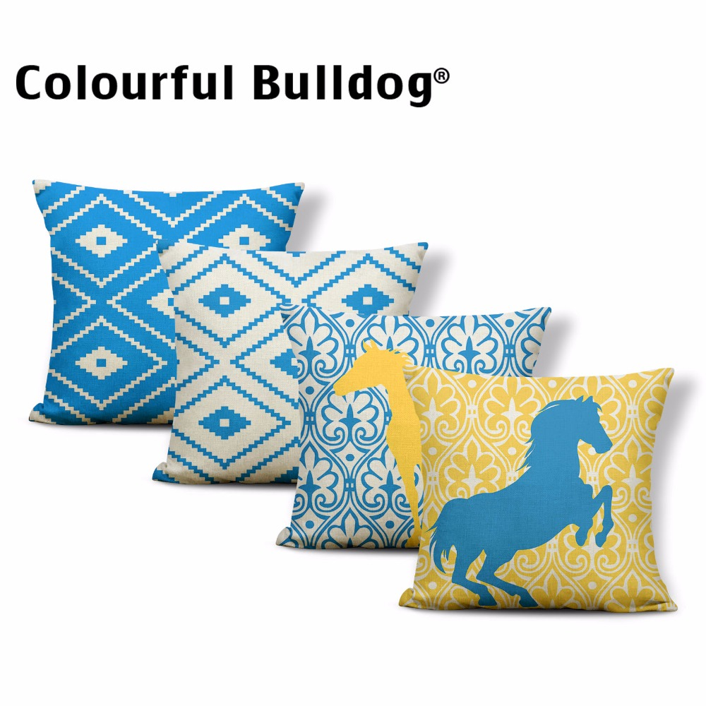 Geometry Cushion Cover Animal Horse Pillow Case Aztec Tribal Patterns Classic Lounger Chair Decorating Throw Pillow 17X17 Linen