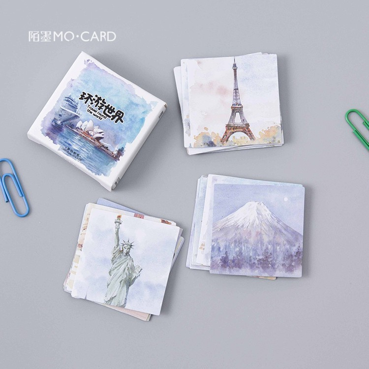 45pcs Kawaii Travel Round The World Special-shaped Boxed Sticker View Post Card Planer Dairy Album Decoration Stcikers Kids Gift
