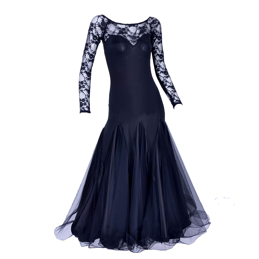 Original Modern Dance Dress For Ladies Black Green Long Sleeve Fabric Skirt Durable Women Feminine Ballroom Comfort Dress Q5003