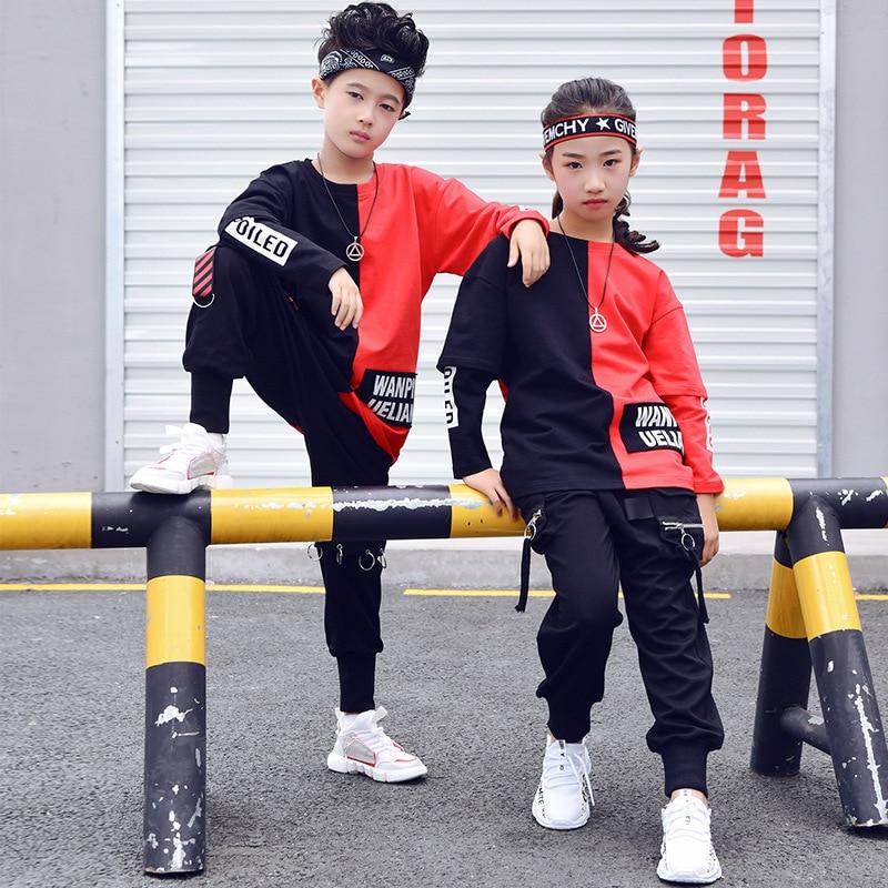 Children Ballroom Dance Clothes For Girls Boys Performance Show Short T Shirt Jogger Pants Jazz Kid Hip Hop Dancing Costume