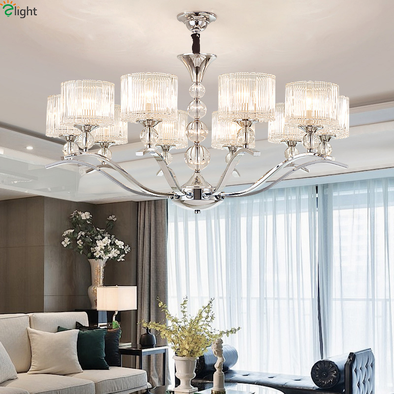 modern chrome metal led chandeliers lighting living room glass led pendant chandelier lights. Black Bedroom Furniture Sets. Home Design Ideas