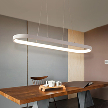 New Modern Led Pendant Chandelier Light For Dining Room Bar Kitchen Room Oval Shape White Pendant Led Chandelier Lamp Fixture t simple artistical pendant light with led chips fish wireacylic lamp for dining room bar ring shape for office best pices