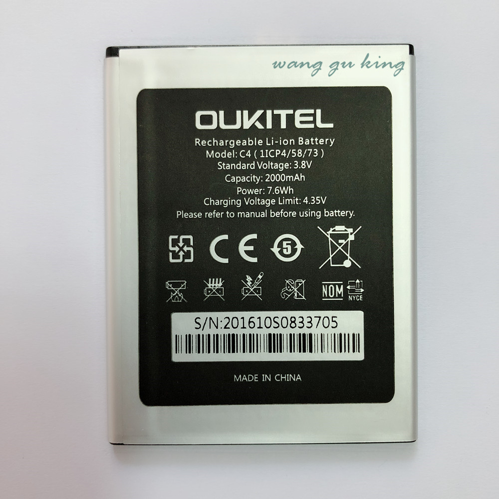 For Oukitel C4 Battery 2000mAh Bateria Batterie Batterij Accumulator