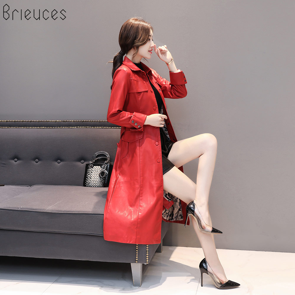 Brieuces Women Long   Leather   Jacket 2018 New Fashion Ladies Elegant PU   Leather   Coats Trench Female Outerwear With Belted 5XL Coat
