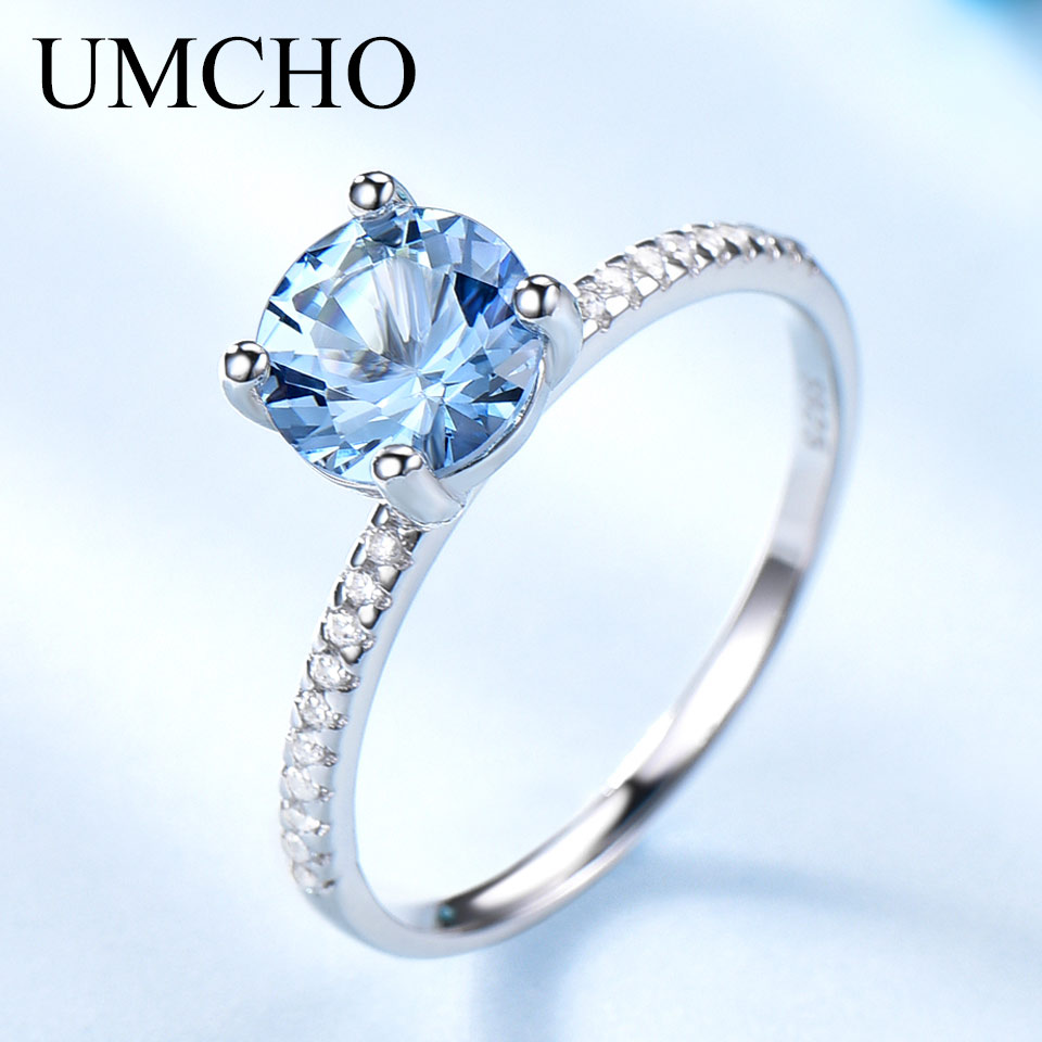 UMCHO  Created Sky Blue Topaz Gemstone 925 Sterling Silver Rings For Women Wedding Bands Engagement Gift Fine Jewelry Party Gift