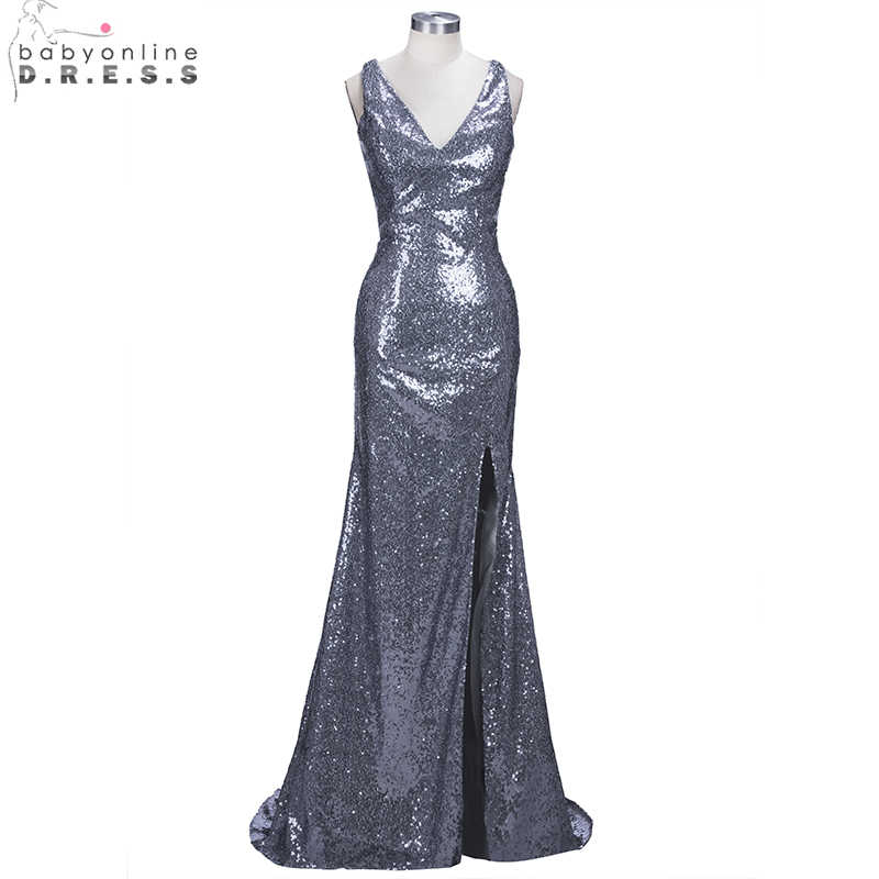ff99ce4baf1 ... Sexy V Neck Mermaid Sequin Long Prom Dresses 2019 Cross Back High Slit  Formal Reflective Party ...