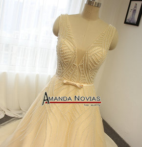 Image 2 - Sexy Transparent Bodice Pearls Wedding Dress Champagne Color