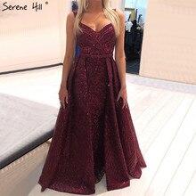 ドバイワインレッドセクシーなスパークルデザインのイブニングドレス 2020 ノースリーブマーメイドイブニングドレスロング穏やかな丘 LA70173