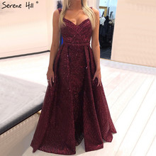 ดูไบไวน์สีแดงเซ็กซี่ Sparkle Design ชุดราตรี 2020 แขน Mermaid ชุดราตรียาว Serene Hill LA70173