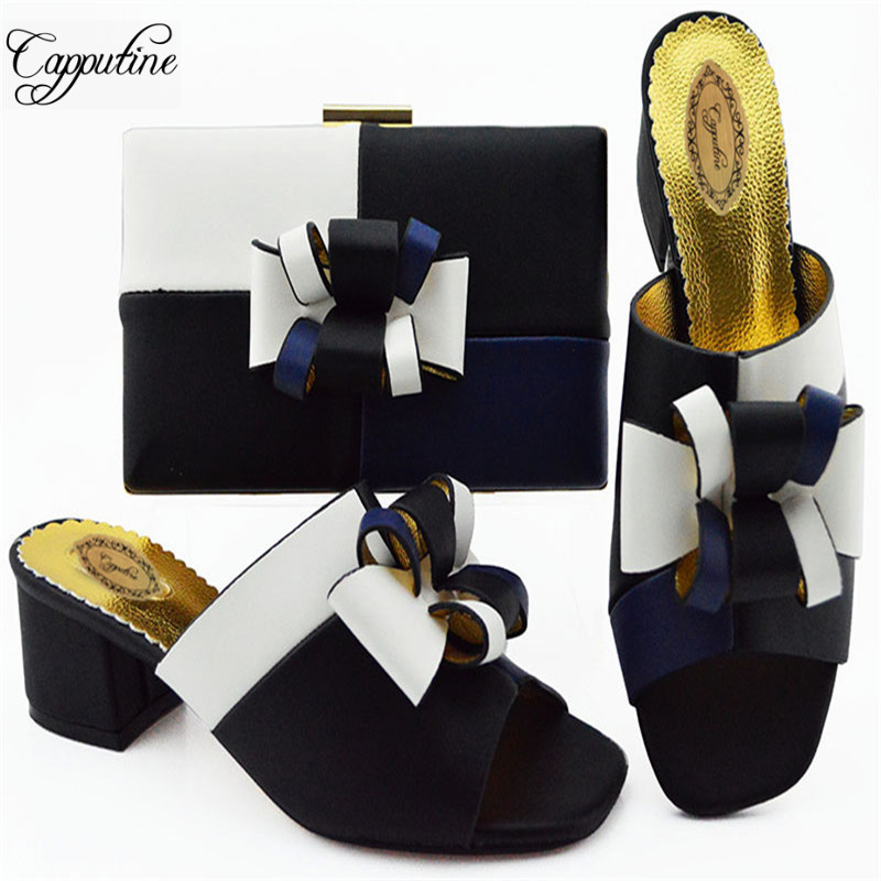 Italian Design PU Black Color Simple Ladies Shoes And Bag Set Fashion Middle Heels Shoes And